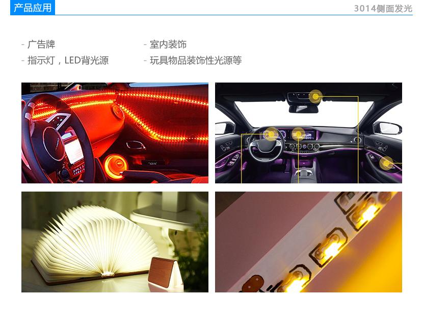 单色光3014侧发光贴片LED应用